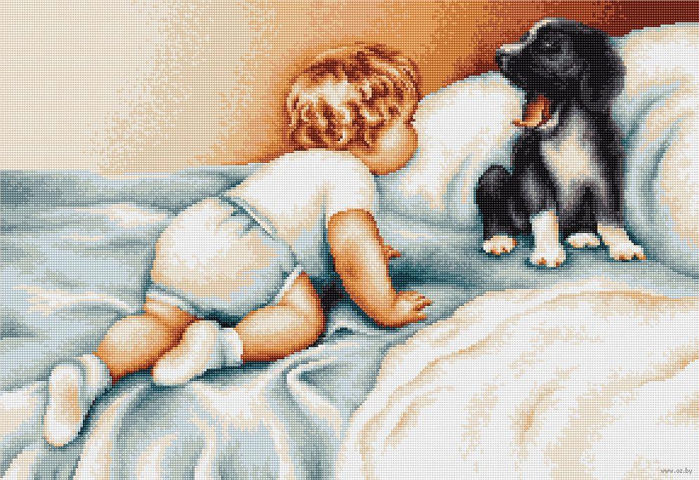 Вышивка крестом мальчик и собака