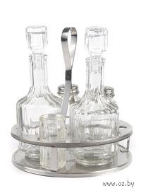 Набор для специй (стекло/металл, 5 предметов, арт. 1480006) на металлической подставке