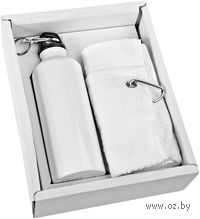 Набор. Фляжка (500 мл), полотенце (белые)