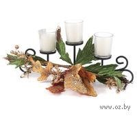 Набор подсвечников стеклянных, 3 шт (6,5*5,5 см) на металлической подставке (35 см) + 3 свечи (5*4,5 см) и украшение