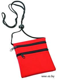 Нагрудный кошелек с 2-мя отделениями на молнии и прозрачным карманом (красный)