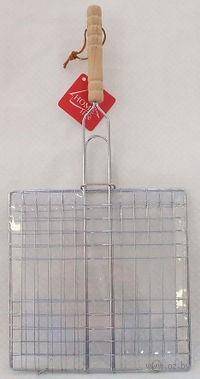 Решетка-гриль металлическая с деревянной ручкой (47,5*23*23 см)