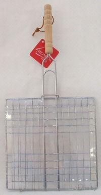Решетка-гриль металлическая с деревянной ручкой (48,5*23*23 см)