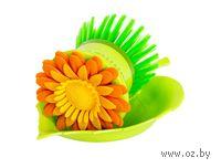 """Щетка для мытья посуды пластмассовая на подставке """"Цветок"""" (8 см, арт. JC1116A)"""