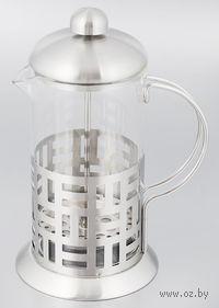Кофейник с прессом, стекло/металл, 600 мл (арт. YM-014/600)