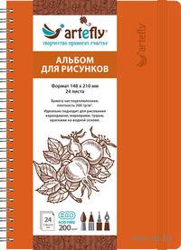 """Альбом для рисунков """"Artefly"""" (148x210 мм; твердая оранжевая обложка)"""