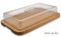 Доска разделочная бамбуковая с крышкой (390х240х75 мм)