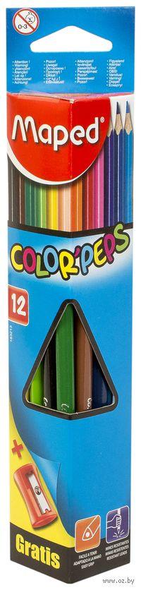 "Цветные карандаши ""Color Peps"" (12 штук + точилка)"