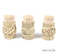 Набор зубочисток деревянных (150 шт) в плетеных подставках (3 шт)