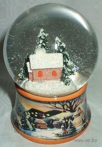 """Шар стеклянный на керамической подставке """"Новогодний"""" (7*7*9,2 см)"""
