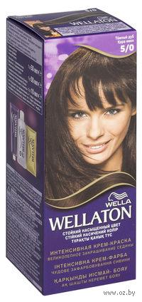 """Стойкая крем-краска для волос WELLATON """"5/0-Темный дуб"""""""