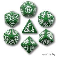 """Набор кубиков """"Драконьи"""" (7 шт, зелено-белые)"""