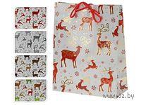 """Пакет бумажный подарочный """"Рождественские олени"""" (18*8*23 см)"""
