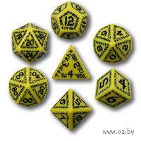 """Набор кубиков """"Рунический"""" (7 шт, желто-черные)"""