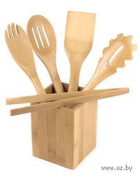 Набор кухонных инструментов бамбуковых на подставке (5 предметов; арт. BB101146)