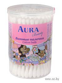 """Ватные палочки """"Aura"""" в банке (100 штук)"""
