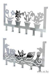 Вешалка металлическая на дверь (6 крючков; 39,8х21,7 см)