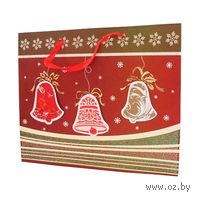"""Пакет бумажный подарочный """"Новогодние игрушки 2"""" (34*28*9 см, арт. XD-C2106-7)"""