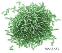 Стеклярус прозрачный с серебристым центром №27B (зеленый; 5 мм)