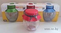 Набор банок для сыпучих продуктов стеклянных с пластмассовыми крышками (3 шт, 370 мл, арт. 131303)