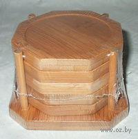 Набор бамбуковых подставок для стаканов (5 шт, 9,5*9,5 см)