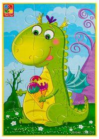 """Пазл мягкий """"Диномир. Динозавр с мороженкой"""" (12 элементов)"""