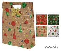 """Пакет бумажный подарочный """"Новогодние елочки"""" (25х33х8,5 см; арт. ABD000760)"""