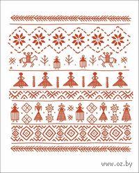 """Тетрадь в клетку 48 листов """"Орнамент красный на белом фоне"""""""