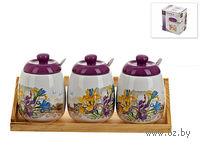 Набор банок для сыпучих продуктов керамических с ложками на подставке (3 шт, 350 мл; арт. 0660015)