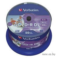 Диск DVD+R Double Layer 8.5Gb 8x Verbatim Inkjet Printable CakeBox 50