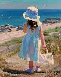 """Алмазная вышивка-мозаика """"Девочка у моря"""""""