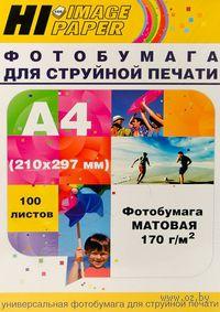 Фотобумага матовая односторонняя (100 листов, 170 г/м, А4)