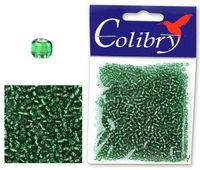 Бисер прозрачный с серебристым центром №21 (изумрудно-зеленый)