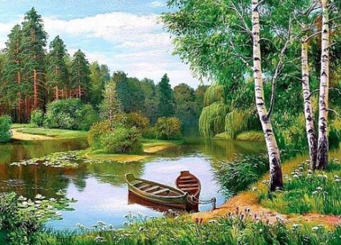 "Алмазная вышивка-мозаика ""Лодки у берега"" (550х400 мм) — фото, картинка"