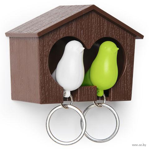 """Брелок-свисток и держатель двойной для ключей """"Sparrow"""" (коричневый/белый/зеленый)"""