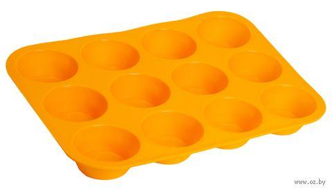 Форма силиконовая для выпекания кексов (330x250x30 мм; оранжевая) — фото, картинка