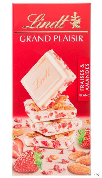 """Шоколад белый """"Lindt. С клубникой и миндалем"""" (150 г) — фото, картинка"""