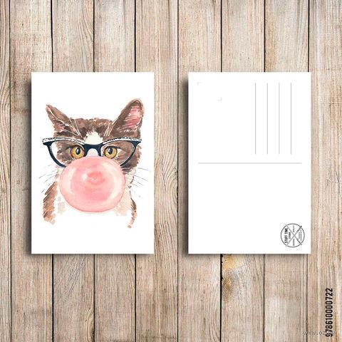 "Открытка ""Котик со жвачкой"" (арт. 722) — фото, картинка"