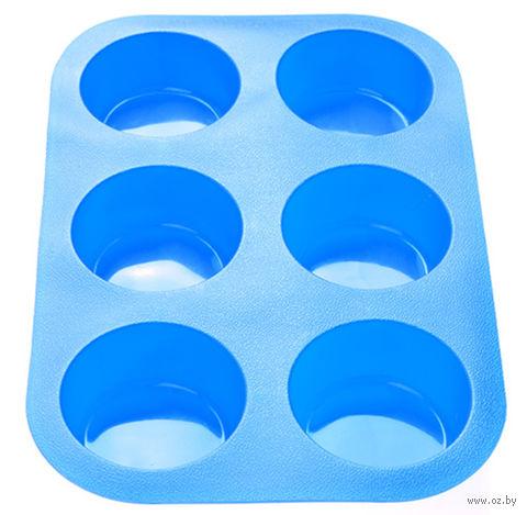 Форма силиконовая для выпекания кексов (260x175x30 мм; голубая) — фото, картинка