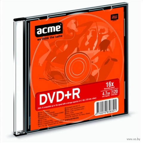 Диск DVD+R 4,7 Гб 16х Acme (Slim case)