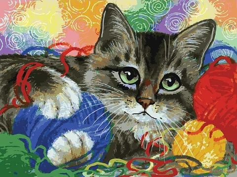 "Картина по номерам ""Котик с клубочками"" (400х300 мм) — фото, картинка"