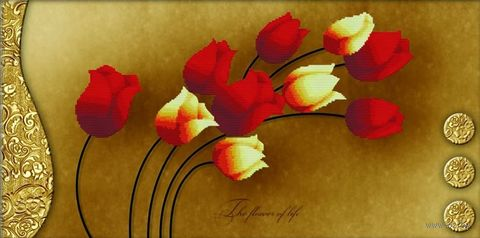 """Вышивка крестом """"Тюльпаны на золотом"""" (690х380 мм) — фото, картинка"""