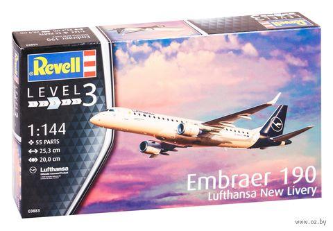"Сборная модель ""Самолет Embraer 190 Lufthansa ""New Livery"" (масштаб: 1/144) — фото, картинка"
