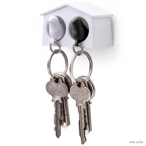 """Брелок-свисток и держатель двойной для ключей """"Mini Sparrow"""" (белый/черный)"""