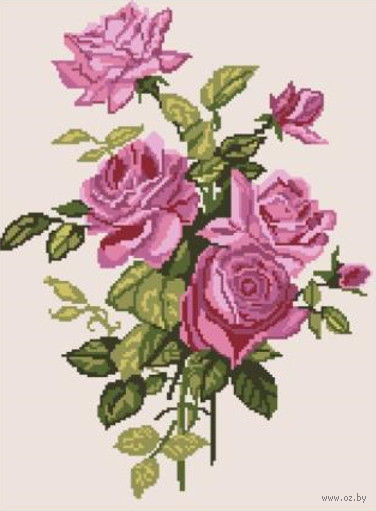 """Вышивка крестом """"Ветка роз"""""""