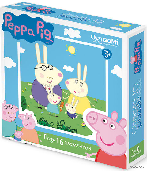 "Пазл ""Свинка Пеппа. Зайчики"" (16 элементов) — фото, картинка"