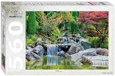"""Пазл """"Каскадный водопад в японском саду"""" (560 элементов) — фото, картинка"""