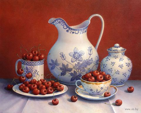 """Алмазная вышивка-мозаика """"Вишневый урожай"""" (500x400 мм) — фото, картинка"""