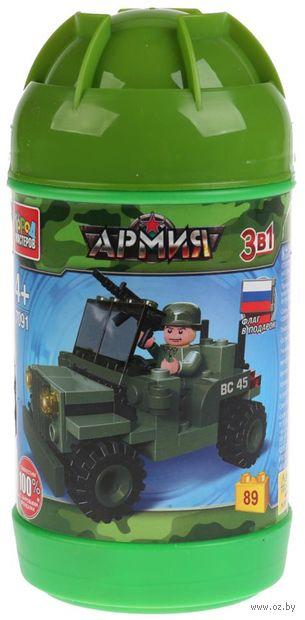 """Конструктор """"Армия. Военный джип 3 в 1"""" (89 деталей) — фото, картинка"""