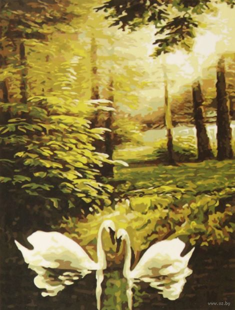"Картина по номерам ""Лебеди на лесном озере"""